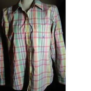 Lauren Ralph Lauren Pink Plaid  Shirt Size L